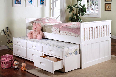 TWIN (SINGLE) SIZE- (314 WHITE)- WOOD- CAPTAIN BED- WITH TRUNDLE AND DRAWERS