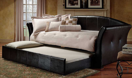 TWIN (SINGLE) SIZE- (315 BLACK)- LEATHER- DAY BED- WITH TRUNDLE