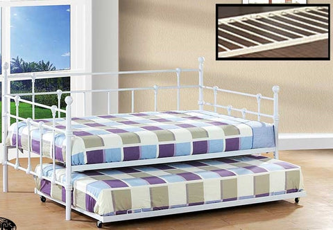 TWIN (SINGLE) SIZE- (316 WHITE)- METAL- DAY BED (WITH TRUNDLE)