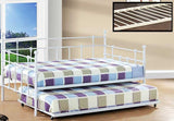 TWIN (SINGLE) SIZE- (316 WHITE)- METAL- DAY BED (WITHOUT TRUNDLE)