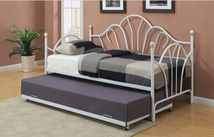 TWIN (SINGLE) SIZE- (318 WHITE)- METAL- DAY BED (WITHOUT TRUNDLE)