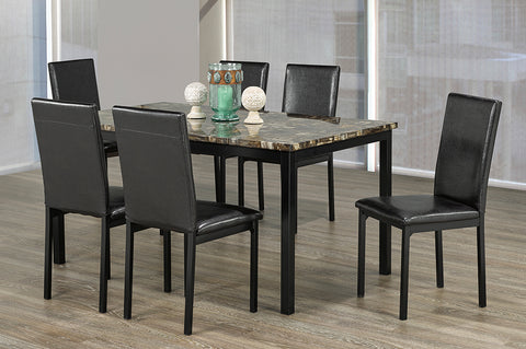 (3201- 7 PC. SET)- MARBLE LOOK- DINING TABLE- WITH 6 CHAIRS