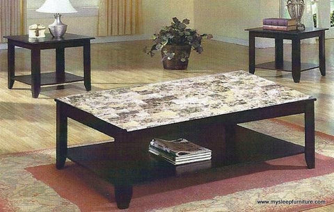 3218- MARBLE LOOK- COFFEE TABLE- WITH 2 SIDE TABLES