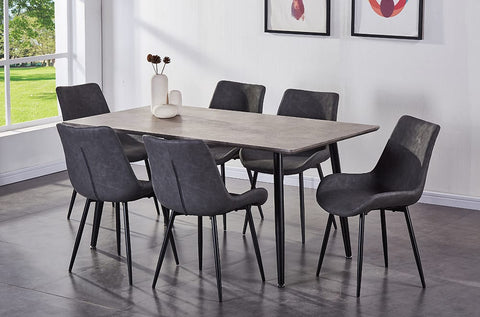 (3315T- C280 GREY- 7 PC.)- METAL- DINING TABLE- WITH 6 CHAIRS