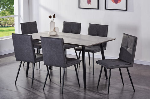 (3318-282) BLACK METAL 7 PC. DINING SET WITH GREY FABRIC CHAIRS
