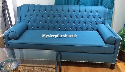 (3370C TEAL)- FABRIC- CRYSTAL TUFTED- CANADIAN MADE- SOFA- (DELIVERY AFTER 4 WEEKS)