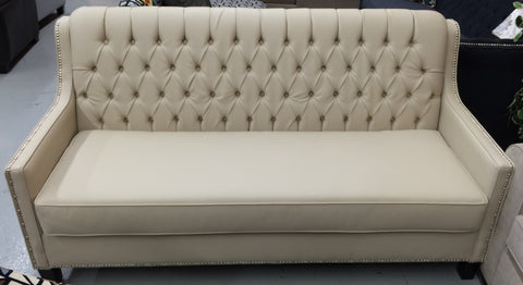 3370L- BEIGE COLOR- PU LEATHER- SOFA- WITH BUTTONS (DELIVERY AFTER 5 WEEKS)