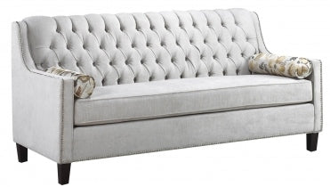 (3370B LIGHT GREY)- FABRIC- CANADIAN MADE- SOFA- WITH BUTTONS (DELIVERY AFTER 3 WEEKS)