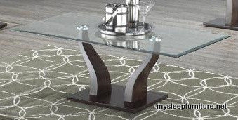 3402W- RECTANGULAR- GLASS TOP- COFFEE TABLE- WITH WOOD LEGS