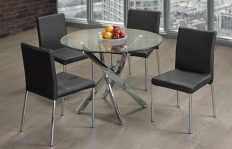 3460- 3401- ROUND GLASS TOP- DINING TABLE- WITH 4 BLACK PU LEATHER CHAIRS
