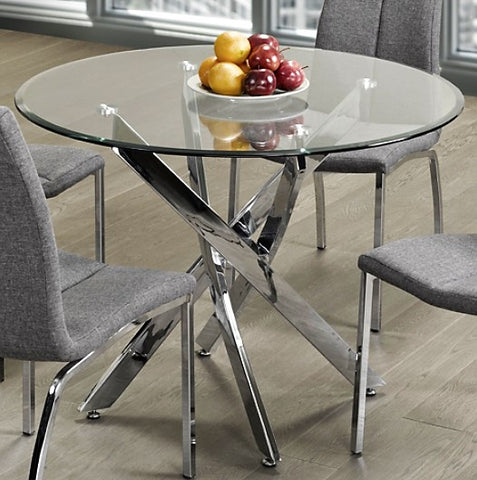 "(MEREDITH- 1)- 43"" ROUND- GLASS- DINING TABLE"