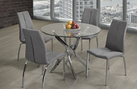 3460- ROUND- GLASS TOP- DINING TABLE- WITH 4 GREY FABRIC CHAIRS