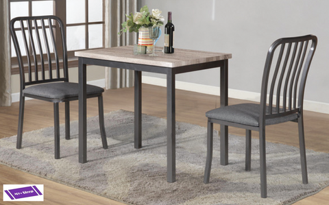 (3720 GREY- 3 PC. SET)- METAL- DINING TABLE- WITH 2 CHAIRS- WILL be available after february 9, 2021