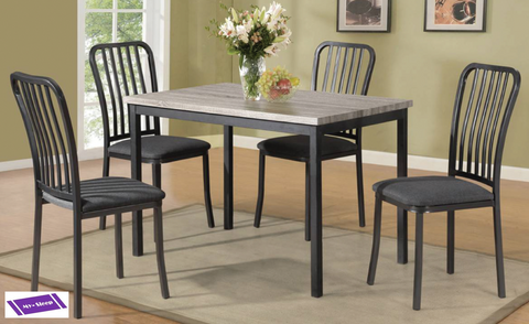 (3721T- 3720C GREY- 5 PC. SET)- METAL- DINING TABLE- WITH 4 CHAIRS- OUT of stock until april 30, 2021