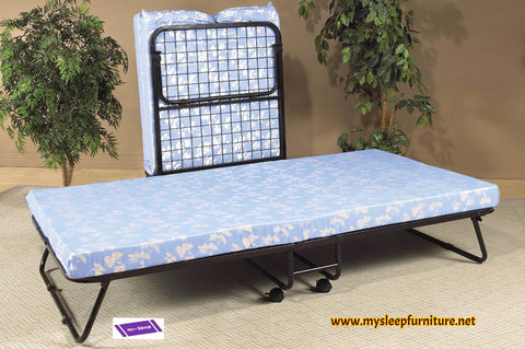 "TWIN (SINGLE) SIZE- (381)- FOLDING BED- WITH STEEL SUPPORT- WITH 3"" FOAM MATTRESS"