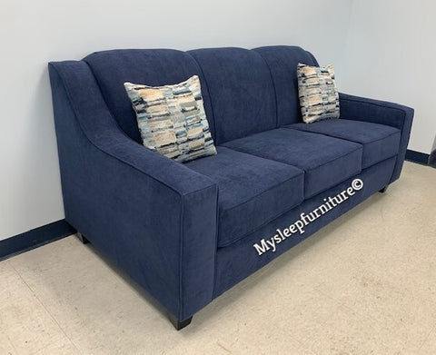 (4000 BLUE TIGHT BACK)- FABRIC- CANADIAN MADE- SOFA- WITH 2 PILLOWS- (DELIVERY AFTER 1 MONTH)