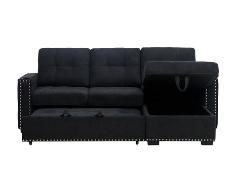 (1711 CHARCOAL)- LINEN FABRIC- SECTIONAL SOFA- WITH PULL OUT BED- WITH STUDS