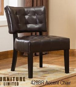 428- BROWN COLOR- PU LEATHER- ACCENT CHAIR