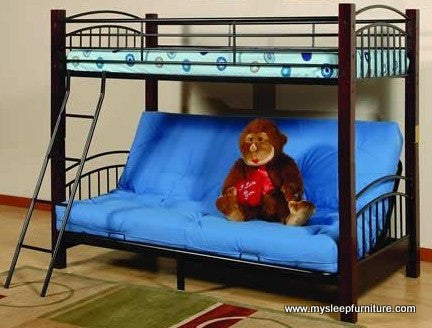 TWIN/ DOUBLE- 2900- METAL- FUTON BUNK BED- WITH WOODEN POSTS