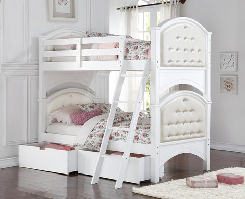 TWIN/ TWIN- (43023 WHITE)- WOOD- BUNK BED- WITH DRAWERS