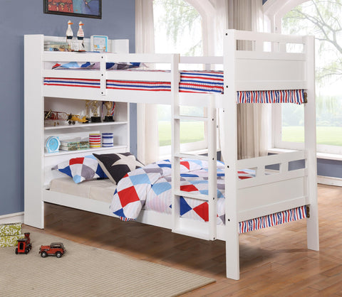 TWIN/ TWIN- (43026 WHITE)- WOOD- BUNK BED- WITH SLATS