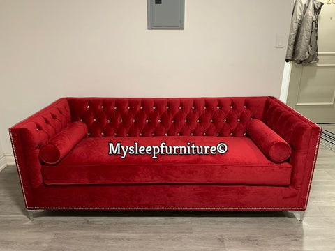 (4402C CRYSTAL BACK RED)- FABRIC- CANADIAN MADE- SOFA- WITH 2 ROUND PILLOWS