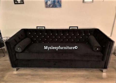 (4407C BLACK)- FABRIC- CRYSTAL TUFTED- CANADIAN MADE- SOFA- WITH 2 ROUND PILLOWS