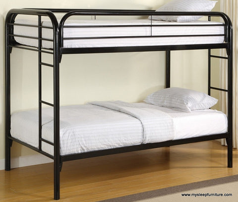 TWIN/ TWIN- (500 BLACK)- METAL- BUNK BED- WITH SLATTED PLATFORM