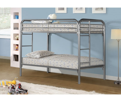 TWIN/ TWIN- (500 GREY)- METAL- BUNK BED- WITH SLATTED PLATFORM