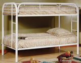TWIN/ TWIN- (500 WHITE)- METAL- BUNK BED- WITH SLATTED PLATFORM
