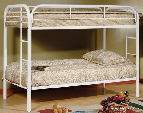 TWIN/ TWIN- (2810 WHITE)- METAL- BUNK BED- will be available after june 12, 2020