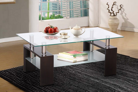 (5000 ESPRESSO)- GLASS- COFFEE TABLE- WITH SHELF