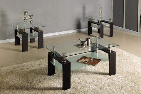 (5001 BLACK)- GLASS- COFFEE TABLE- WITH 2 SIDE TABLES