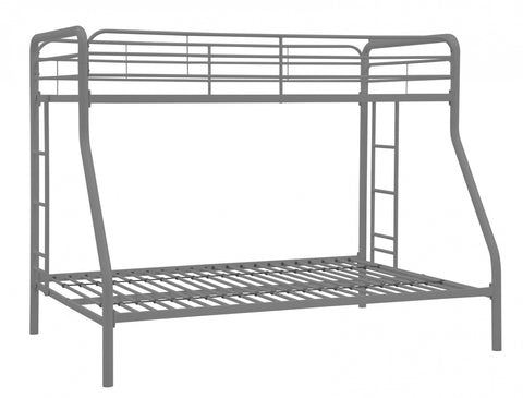 TWIN/ DOUBLE- (2820 SILVER)- METAL- BUNK BED- OUT of stock until may 30, 2021