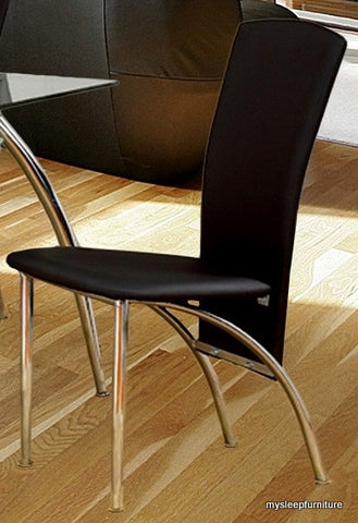 5052 BLACK COLOR PU LEATHER DINING CHAIRS WITH CHROME LEGS- 4 PACK