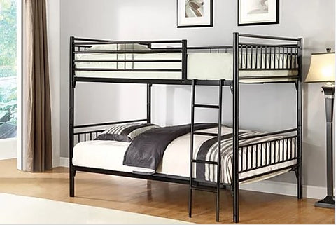 TWIN/ TWIN- (510 BLACK)- METAL- SPLITTABLE- BUNK BED