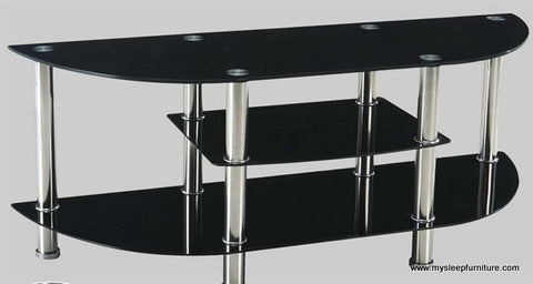 5116- BLACK COLOR- GLASS- TV STAND- WITH CHROME LEGS
