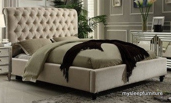 QUEEN SIZE- (511 VICTORIA BEIGE)- FABRIC- BED FRAME- WITH SLATS