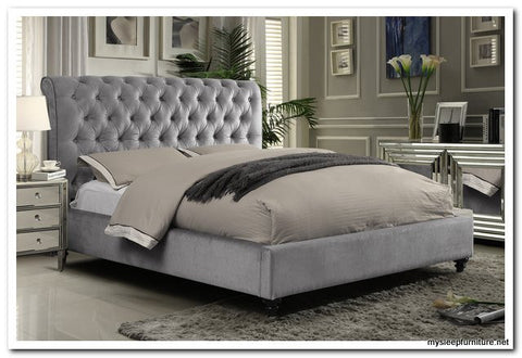 KING SIZE- (511 VICTORIA GREY)- FABRIC- BED FRAME- WITH SLATS