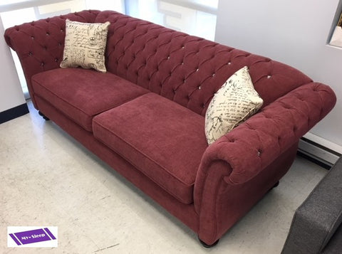 5200C- RASPBERRY COLOR- CANADIAN MADE- FABRIC SOFA- WITH CRYSTALS- 2 FREE PILLOWS