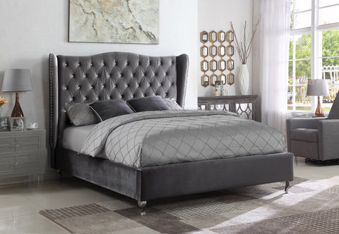 QUEEN SIZE- (5520 GREY)- VELVET FABRIC- CRYSTAL TUFTED- BED FRAME- WITH SLATS- will be available after august 7, 2020
