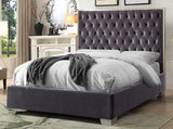 KING SIZE- (5540 GREY)- VELVET FABRIC- BED FRAME- WITH SLATS