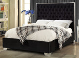 KING SIZE- (5542 BLACK)- VELVET FABRIC- BED FRAME- WITH SLATS- OUT of stock until february 16, 2021