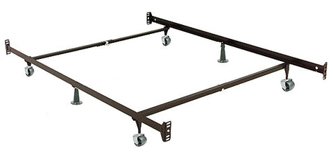TWIN- DOUBLE SIZE- (T55 DOUBLE ENDED)- ADJUSTABLE- METAL BED FRAME- WITH WHEELS- (BOX SPRING REQUIRED)