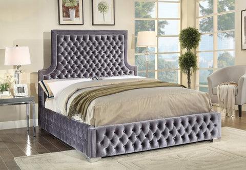 QUEEN SIZE- (5600 GREY)- VELVET FABRIC- BUTTON TUFTED- BED FRAME- WITH SLATS