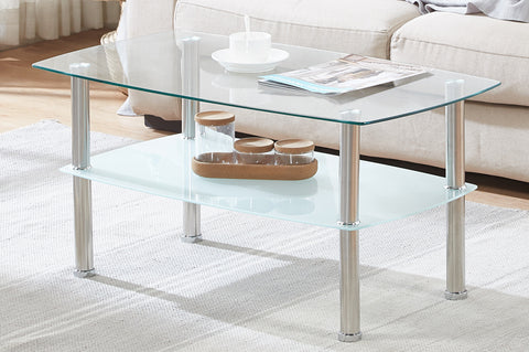 (5610 CLEAR)- GLASS- COFFEE TABLE- WITH SHELF