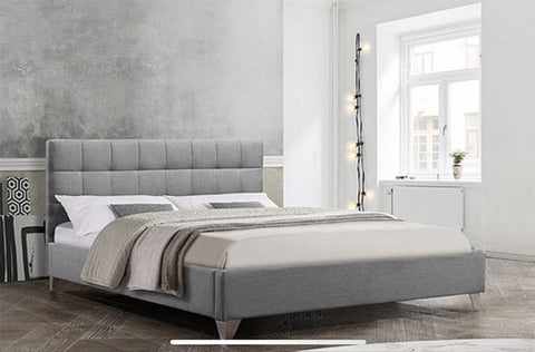 DOUBLE (FULL) SIZE- (5710 GREY)- FABRIC- BED FRAME- WITH SLATS