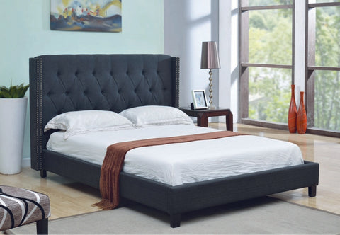 QUEEN SIZE- (5800 CHARCOAL)- FABRIC- BED FRAME- WITH SLATS