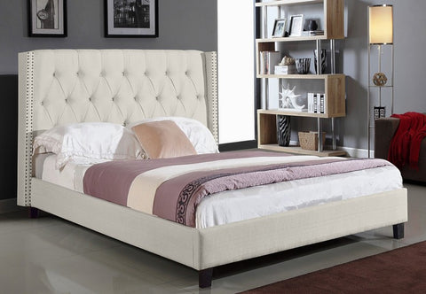 QUEEN SIZE- (5802 IVORY)- FABRIC- BED FRAME- WITH SLATS