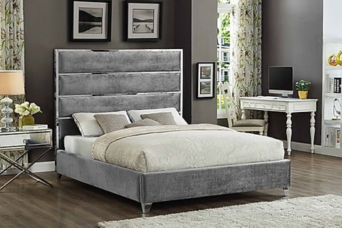 KING SIZE- (5880 GREY)- VELVET FABRIC- BED FRAME- WITH SLATS